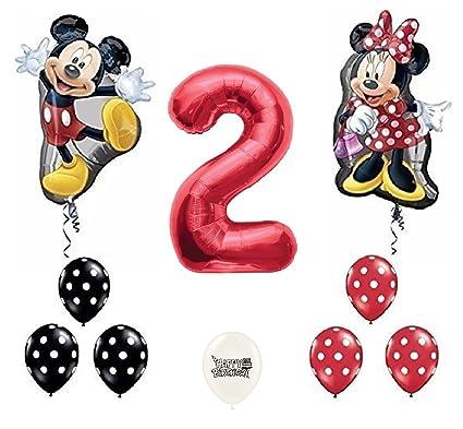 Amazon.com: ballooney S Rojo Número 2 Mickey y Minnie Mouse ...