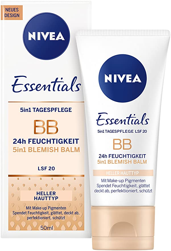 Nivea Diarios Esenciales BB Cream SPF 10 5 en 1 Beautifying Crema hidratante de Cara, 50 ml, luz, pack de 3: Amazon.es: Belleza