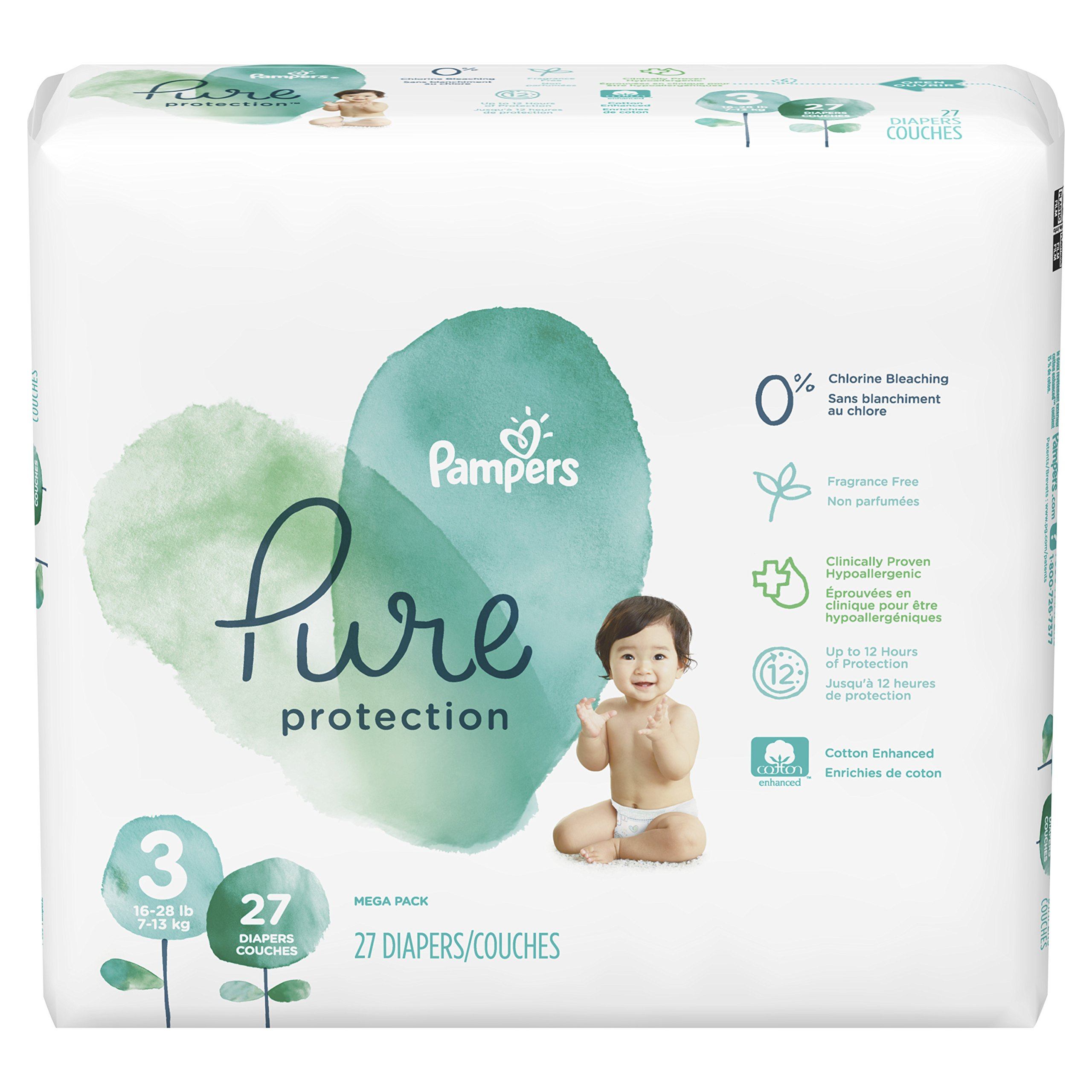 Pampers Pure Protection Disposable Baby Diapers, Size 3, 27 Count