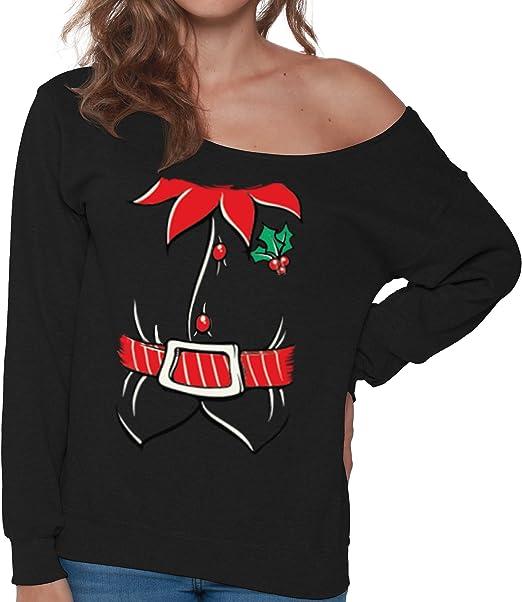 Amazon.com: pekatees Elf sudadera fuera del hombro Sudadera ...