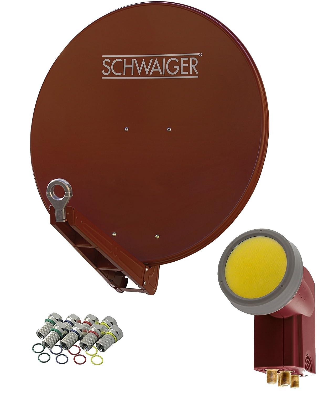 digital Ziegelrot SCHWAIGER -4647- Sat Anlage /& 8 F-Steckern 7 mm 75 x 80 cm Sat Antenne aus Aluminium Satellitensch/üssel mit Quad LNB