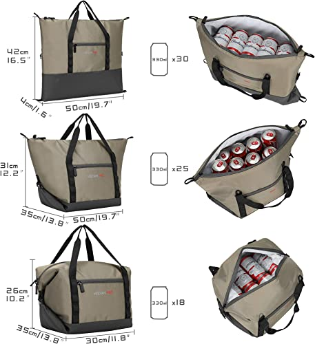 Veevanpro Convertible Cooler Bag Insulated Cooler Tote 19L Leakproof Picnic Bag 30 Cans for Beach, Outdoor, Camping, Fishing, Hiking, Khaki