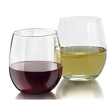 Zeppoli 4-Piece Stemless Wine Glass Set, Elongated and Shatter-Resistant Glass, 15oz