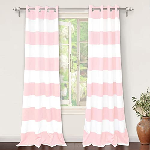 DriftAway Mia Stripe Room Darkening Grommet Unlined Window Curtains 2 Panels Each 52 Inch by 84 Inch Pink
