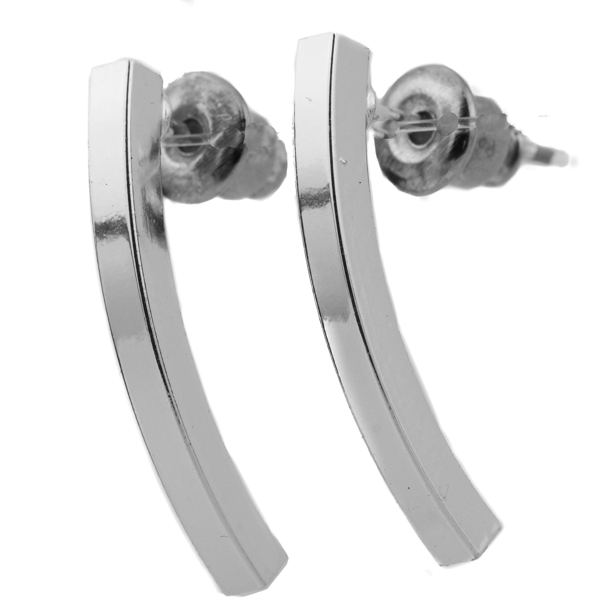 Bar Stud Minimalist Earrings Geometric Dainty Climber (Silver)