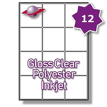 12 por página/hoja 5 hojas (60 transparente etiquetas adhesivas ...