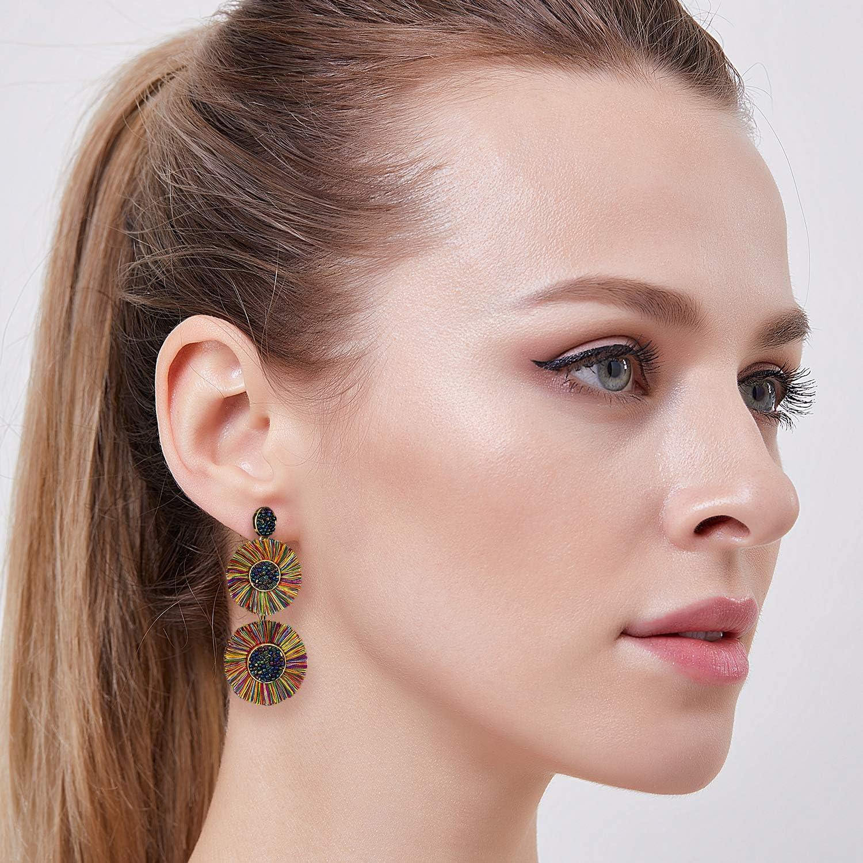 B2#Black Earller/Round/Beaded/Tassel/Earrings/Bohemian/Layered/Bead/Drop/Dangle/Earrings/Boho/Statement/Tassel/Earrings/for/Women