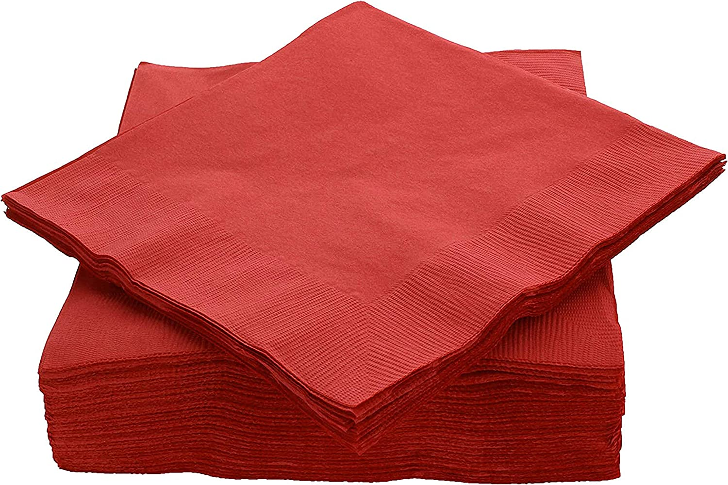 """Amcrate Big Party Pack 50 Count Red Dinner Napkins Tableware- Ideal for Wedding, Party, Birthday, Dinner, Lunch, Cocktails. (7"""" x 7"""")"""