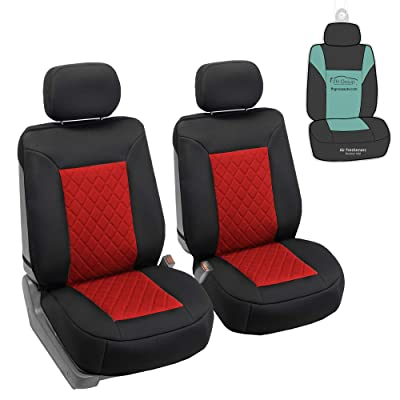 FH Group FB088102 Neosupreme Deluxe Quality Car Seat Cushions (Red) Front Set with Gift - Universal Fit for Cars Trucks and SUVs: Automotive