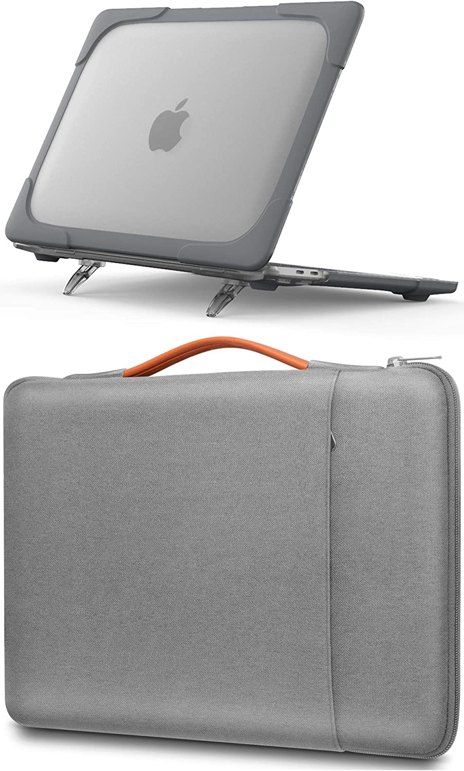 ProCase MacBook Pro 13 Inch Grey Hard Shell Case(A2289/A2251) + Light Grey Sleeve Bag, Compatible with 2020 Released MacBook Pro New 13-inch Model A2289/ A2251 – Grey+ Light Grey
