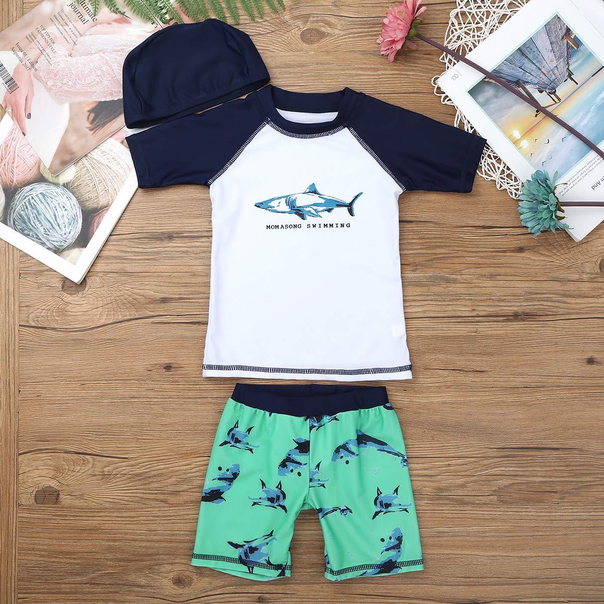inhzoy Toddler Boys 3-Pieces Swimsuit Set Kid Bathing Suit UPF 50 Beachwear Rash Guard