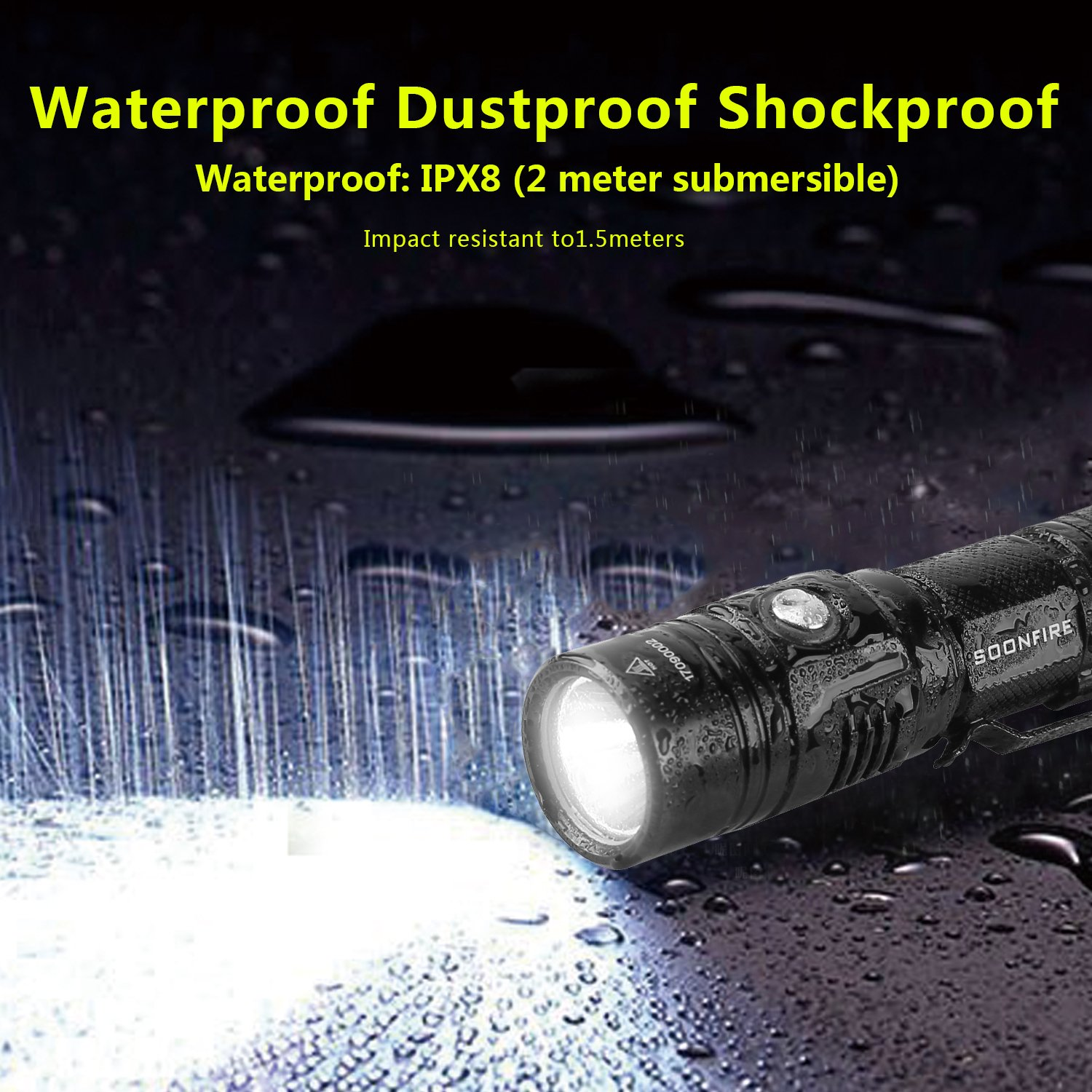 Cree XP-L LED Rechargeable Flashlight,Soonfire E07 USB Waterproof 1000 Lumen Compact EDC Flashlight with type 18650 3400mAh rechargeable Li-ion battery by soonfire (Image #4)
