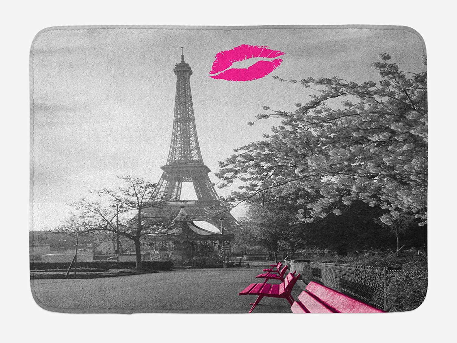 Ambesonne Paris Bath Mat, Romantic Monochrome Photo of Eiffel Tower with Pink Benches and a Kiss Mark, Plush Bathroom Decor Mat with Non Slip Backing, 29.5 W X 17.5 L Inches, Black White Hot Pink