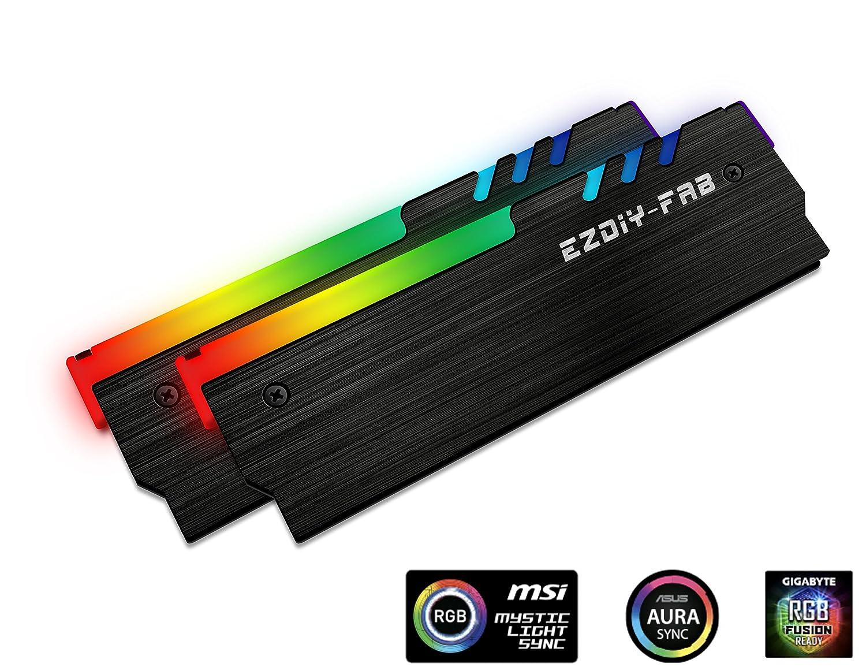 easydiy adressier Bare RGB Memoria enfriador RGB DDR Chaleco Disipador Fin Haz para DIY PC de parte Overclocking Mod DDR3 DDR4 (compatible con ASUS Aura ...
