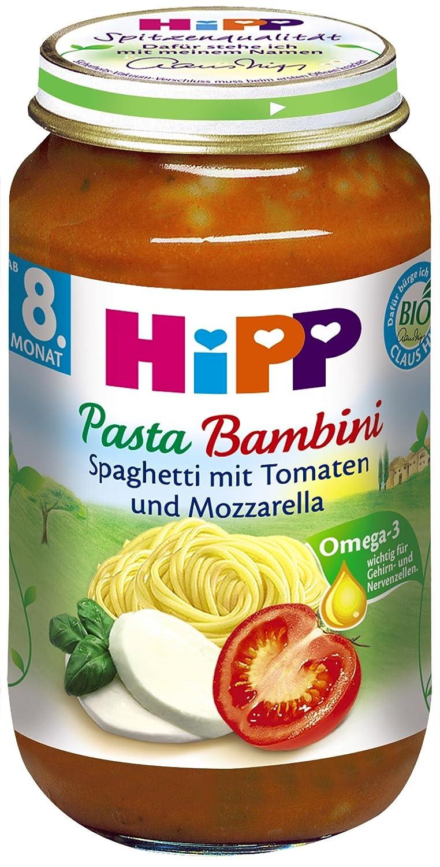 Hipp Pasta Bambini - Espaguetis con tomates y mozzarella, 6 unidades) (6 x 220 g) - Bio: Amazon.es: Alimentación y bebidas