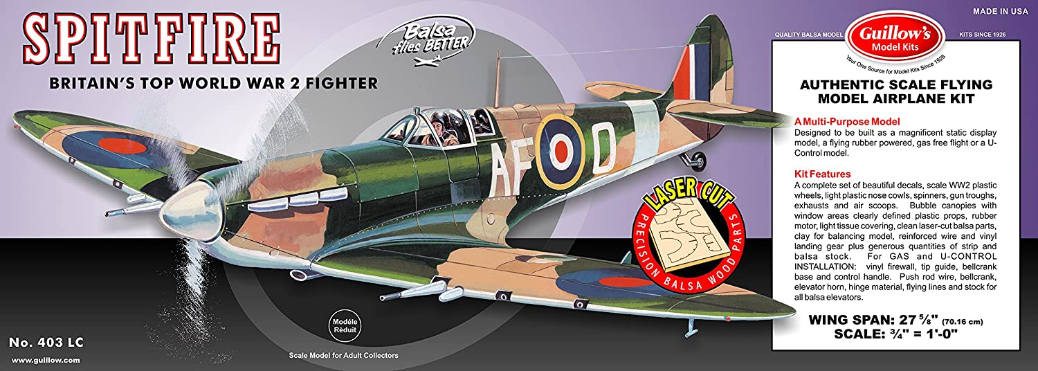 Guillow's Spitfire Laser Cut Model Kit