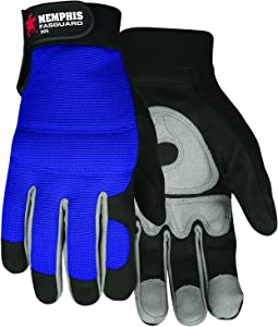 MCR Safety 905S Fasguard Synthetic Leather Black Palm/Gray Patch Palm Multi-Task Gloves with Blue Back and Adjustable Wrist Closure, Blue/Black, Small, 1-Pair