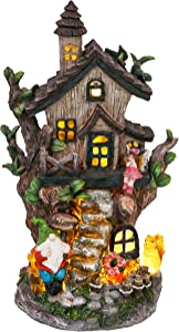 TERESA'S COLLECTIONS 12.2 Inch Fairy Garden House Statues, Cottage Sculptures with Gnomes, Solar Powered Lights Large Fairy Garden Figurines Cottage for Outdoor Patio Yard Decorations (Resin)