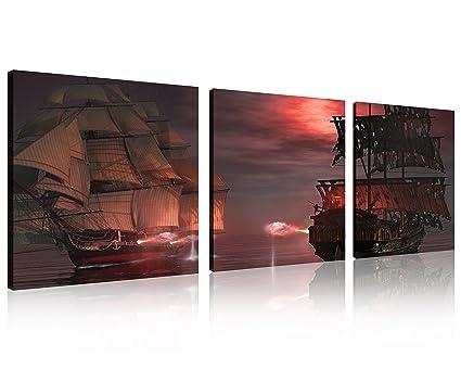 Amazon.com: QICAI 3 Panel Pirate Ship, Huge Canvas Print, Ready to ...