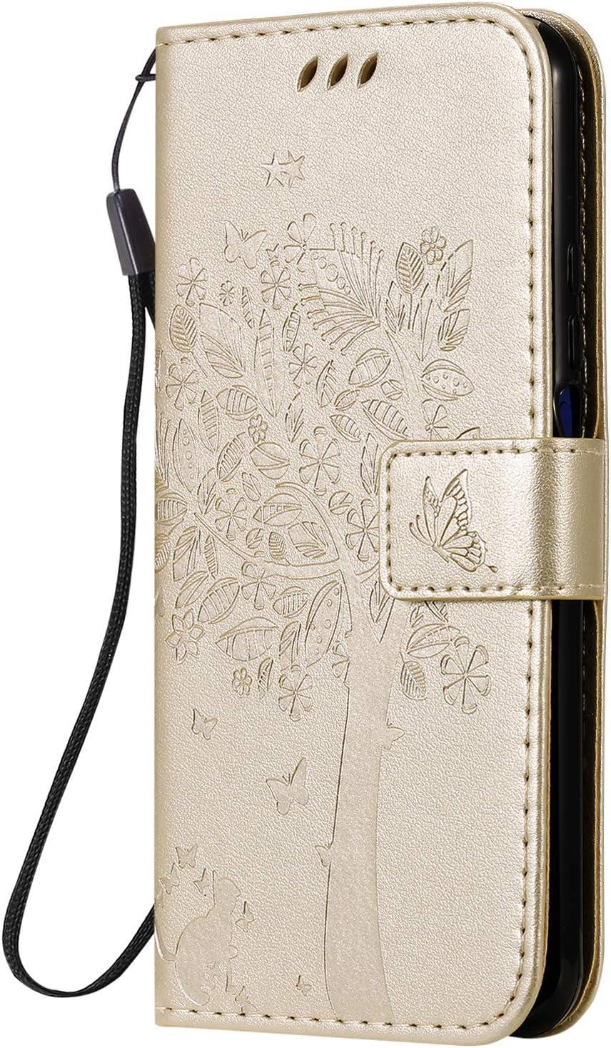 Funda de cuero para Huawei Honor 20 Pro Case Pu Cuero Flip Wallet Stand Case Con Tarjetero Slim Case Cover con ranuras para tarjetas para Huawei Honor20 Pro - ZIKT020806 Oro
