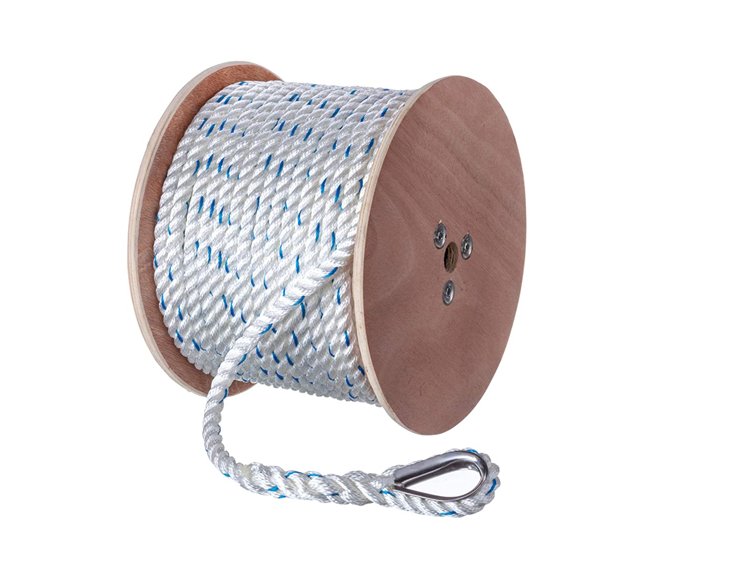 Steel Thimble White w//Blue Tracer Seachoice 47931 Premium 3-Strand Twisted Nylon Anchor Line with Tracer 5//8-Inch x 250 Feet