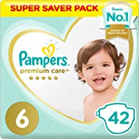 Pampers Premium care Diapers, Size 6, Extra Large, 15+ kg, Jumbo Pack, 42 Count