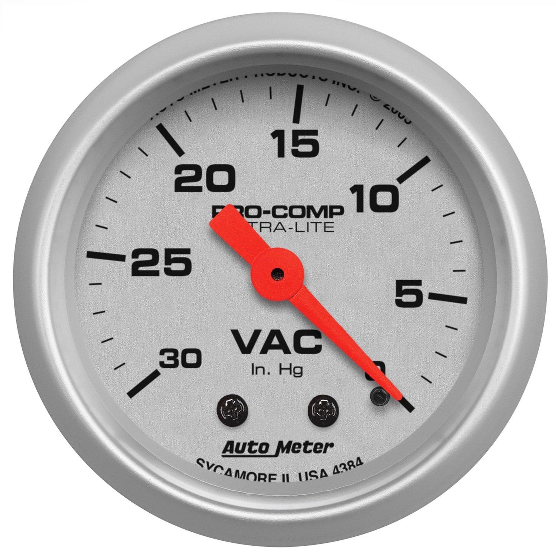 Auto Meter 4384 Ultra-Lite 2-1/16' 30 in. Hg Mechanical Vacuum Gauge