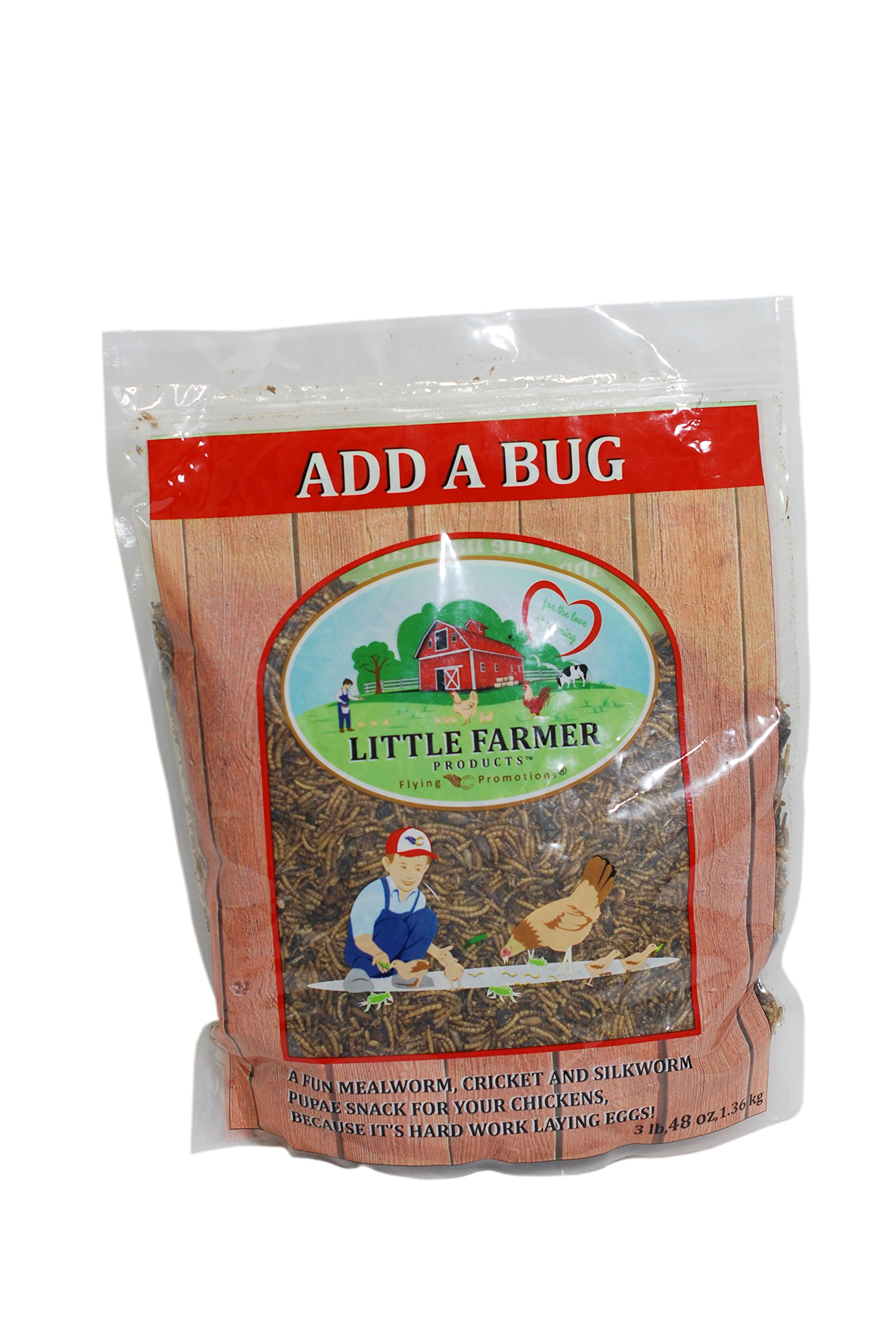 Little Farmer Products Add A Bug - Premium Poultry Mix Dried Mealworms, Silkworm Pupae And Crickets | 3 Lb by LITTLE FARMER PRODUCTS