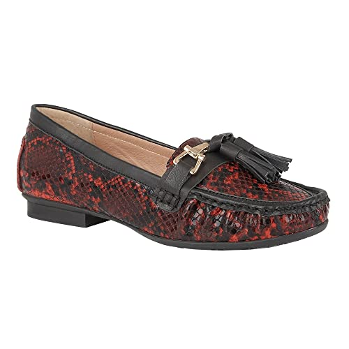 Lotus Chalina Roja Serpiente Imprimir Mocasines 7: Amazon.es: Zapatos y complementos