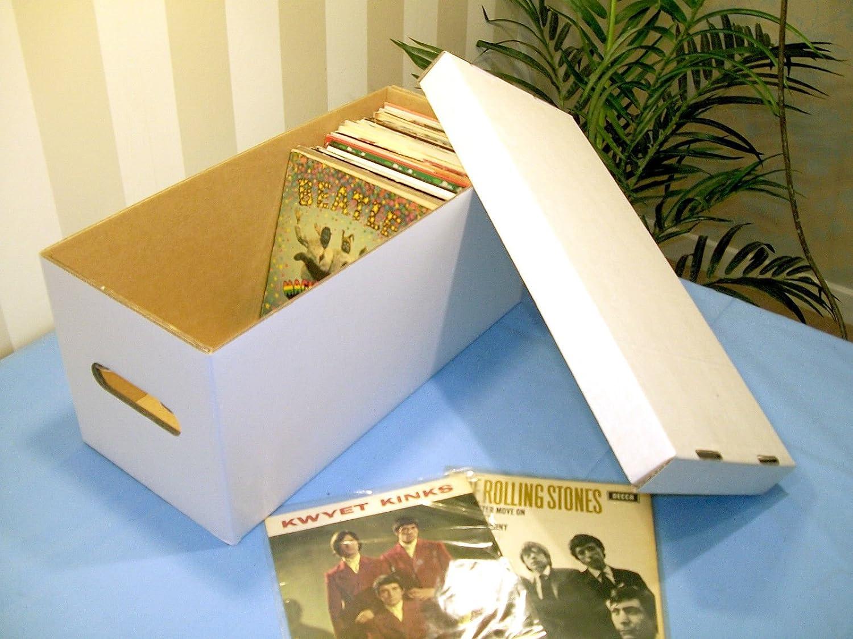 7' SINGLE WHITE STORAGE BOX - HOLDS 180-200 RECORDS! RECORDBOXXX