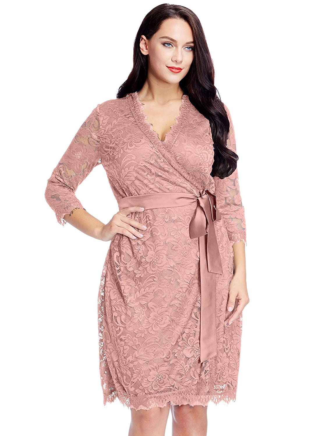LookbookStore Women's Plus Size Lace 3/4 Sleeves Formal True Wrap Dress DR-1615