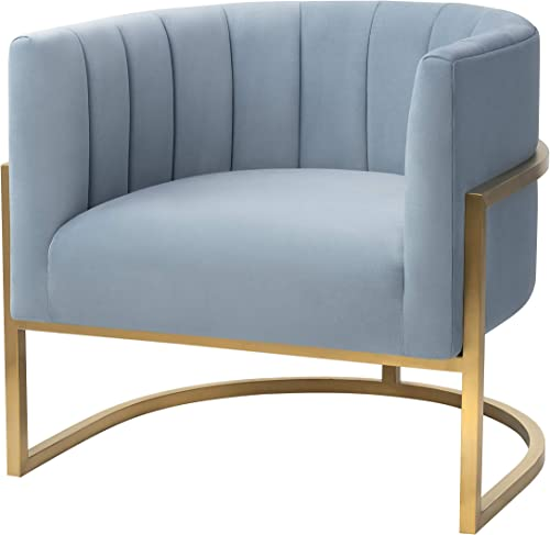 MEXIYA Havana Living Room Chairs Seablue Textured Velvet Upholstered Accent Chair with Brushed Gold Leg