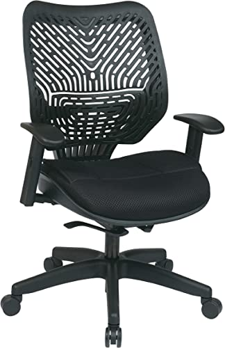 SPACE Seating REVV Self Adjusting SpaceFlex Raven Backrest Support and Padded Raven Mesh Seat with Adjustable Arms and Nylon Finish Base Managers Chair