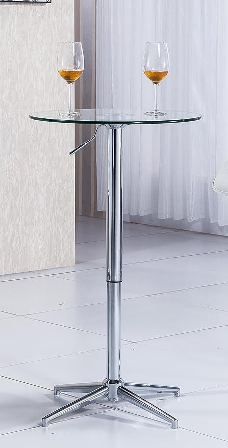 Mesa o mesita auxiliar alta elevable con cristal. Estilo Bar de interior o exterior, hostelería u hogar.: Amazon.es: Hogar