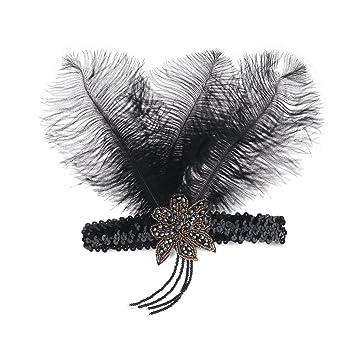 Stirnband Feder Haarreif Vintage Schwarz Pfau Federn Great Gatsby