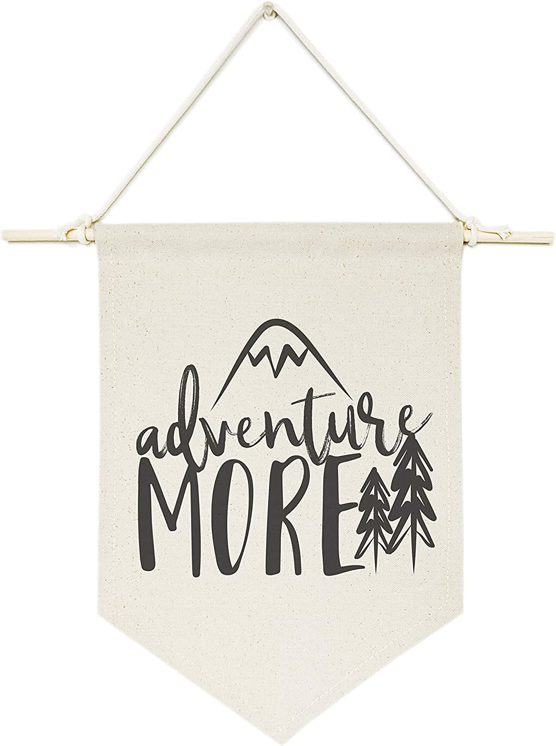 The Cotton & Canvas Co. Adventure More Hanging Wall Canvas Banner, Motivational Print, Wall Art and Home Decor