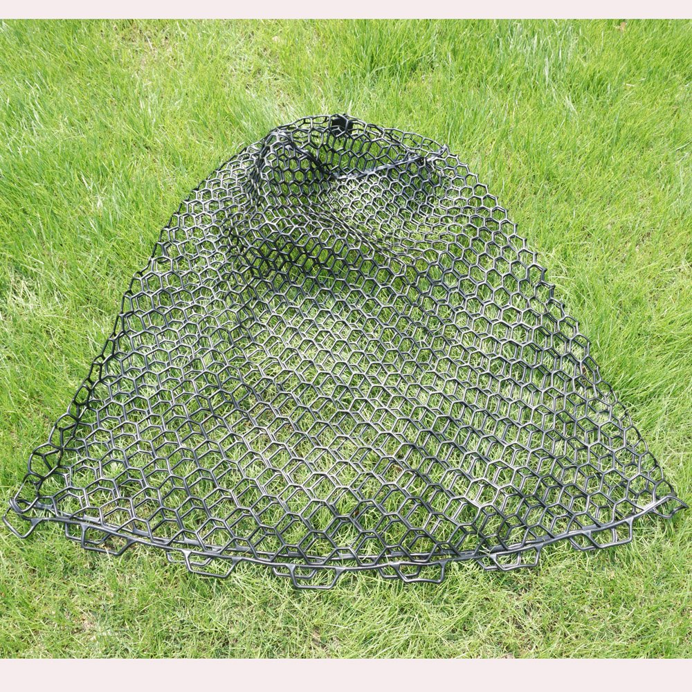 Depth 24.8' Rubber Fly Fishing Net Replacement For Fish Landing Net, Soft Rubber Mesh Net Large Size Black Color Kunsilane