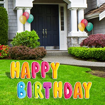 Amazon Com Bigtime Signs Happy Birthday Yard Signs With Stakes 15 Colorful Lawn Letters Balloon Bubble Style Decor For Backyard Celebration Weatherproof Corrugated Plastic Outdoor Party Decorations Garden Outdoor