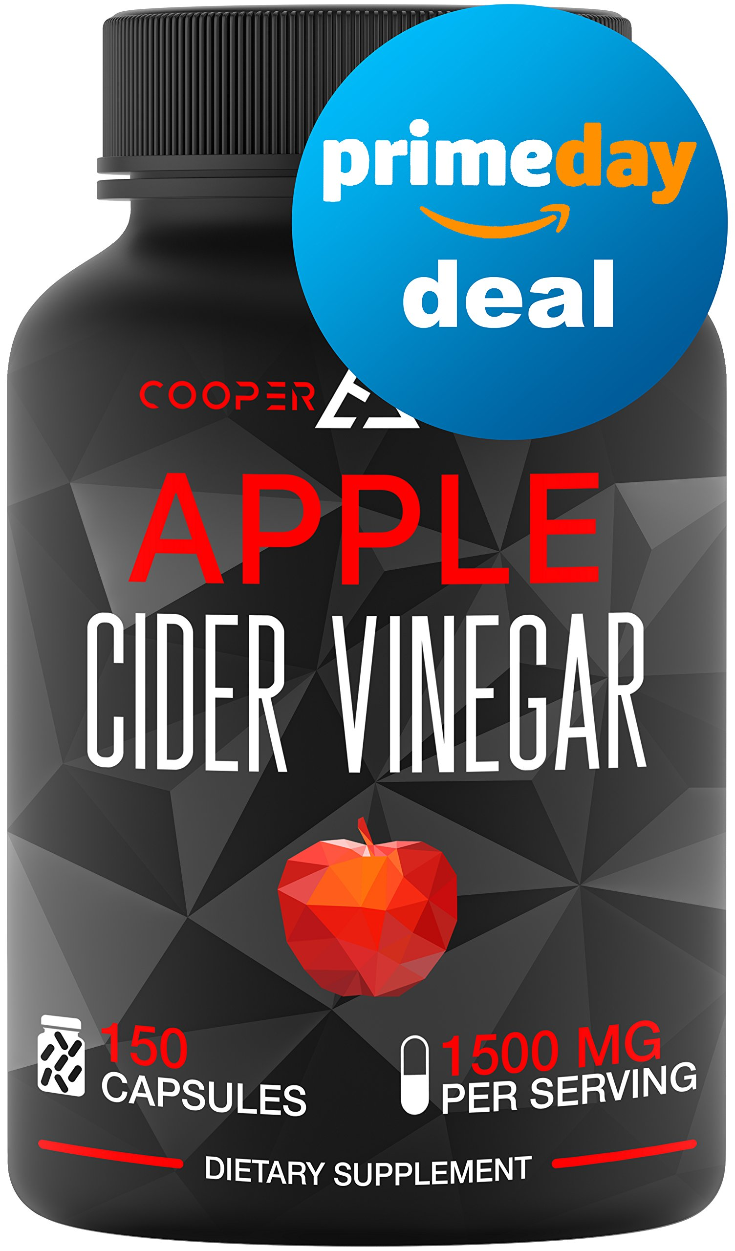Apple Cider Vinegar Capsules - 150 Capsules 1500 MG - Natural Weight Loss - Healthy Diet - Appetite Suppressant - Detox - Powerful Cleanser Pills - Fat Burners for Men & Women - Metabolism Booster by COOPER BIOTECH