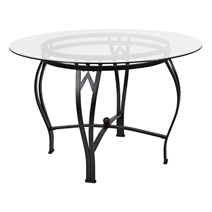 Amazon.com: Flash Furniture Syracuse 45\'\' Round Glass Dining Table ...