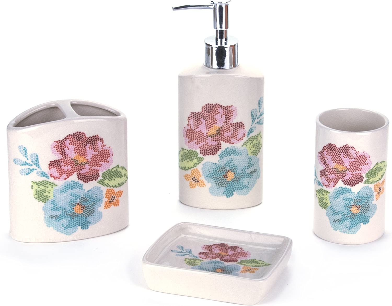 and Soap Dish Tumbler Toothbrush Holder KitchenKlassics Elegant 4 Piece Bathroom Accessory Set Soap Dispenser