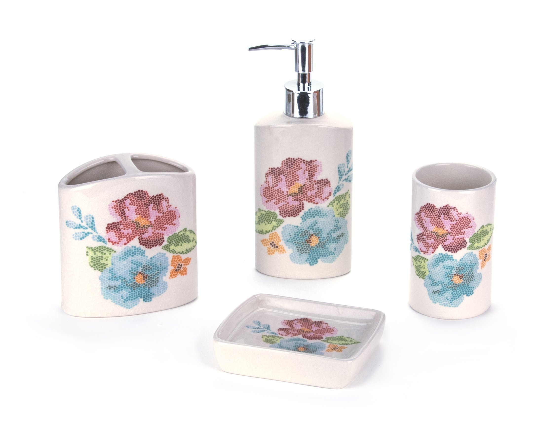 Elegant 4 Piece Bathroom Accessory Set - Toothbrush Holder, Soap Dispenser, Tumbler, and Soap Dish - PERFECT ACCESSORY SET for Master bath, Guest bath or Kids bath. Also Suitable for Commercial use. 4 PIECE SET INCLUDES Tumbler, Soap Dish, Toothbrush/ Toothpaste Holder, and Soap Dispenser/ Lotion Dispenser. CONTEMPORARY, DELUXE CERAMIC Perfect For Storing Your Toiletries and Adding Style to Your Bathroom Counter. - bathroom-accessory-sets, bathroom-accessories, bathroom - 81L3CO2coBL -