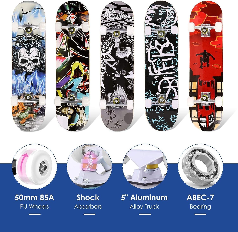 WeSkate Skateboards Pro principiantes madera de arce de 7 capas adultos Patines de 78,7 cm para adolescentes ni/ñas 6: letra ni/ños