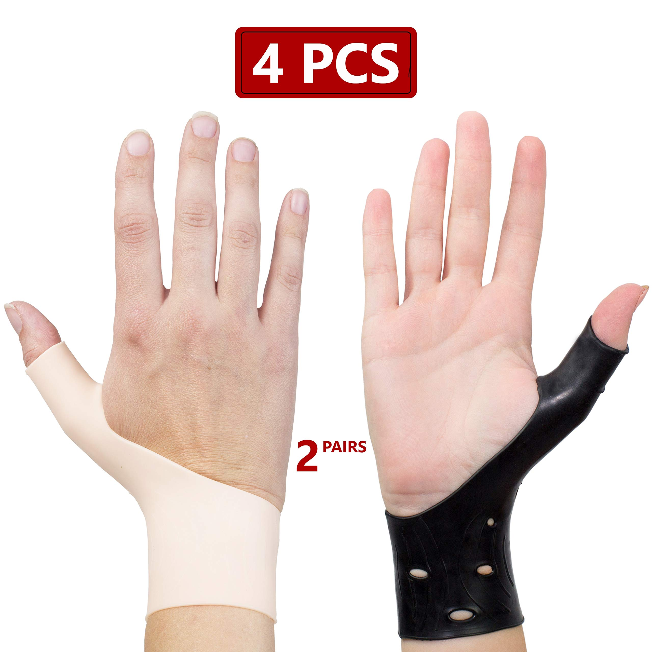 EXCELYFE Premium 4 Piece Black & Nude Color Gel Wrist & Thumb Support Braces For Right & Left Hand| Relieves Wrist & Thumb Pain Including Arthritis,Rheumatism,Carpal Tunnel |For Everyday Use or Sports by Excelyfe