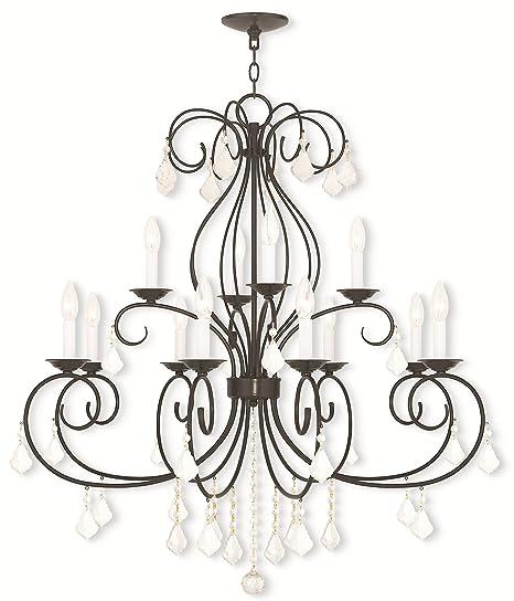 Amazon.com: Lámparas de araña 12 Luz con claros Cristales ...