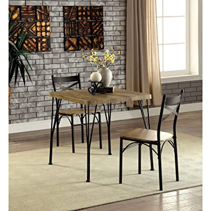 Benzara 3 Piece Slingsbury Industrial Dining Table Set & Amazon.com: Benzara 3 Piece Slingsbury Industrial Dining Table Set ...