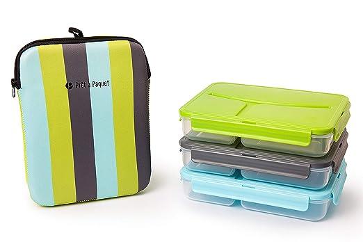 Pret a Paquet Bento Fiambreras con 3 Compartimientos, Porta Alimentos con Bolsa Termica, Apto Para Microondas Y Lavavajillas, Sin BPA, Fiambrera ...
