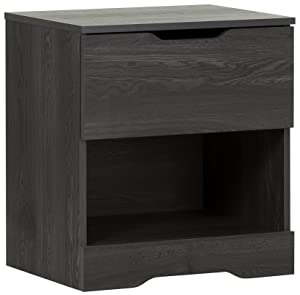 South Shore Trinity 1-Drawer Nightstand, Gray Oak with Cut-Out Handles