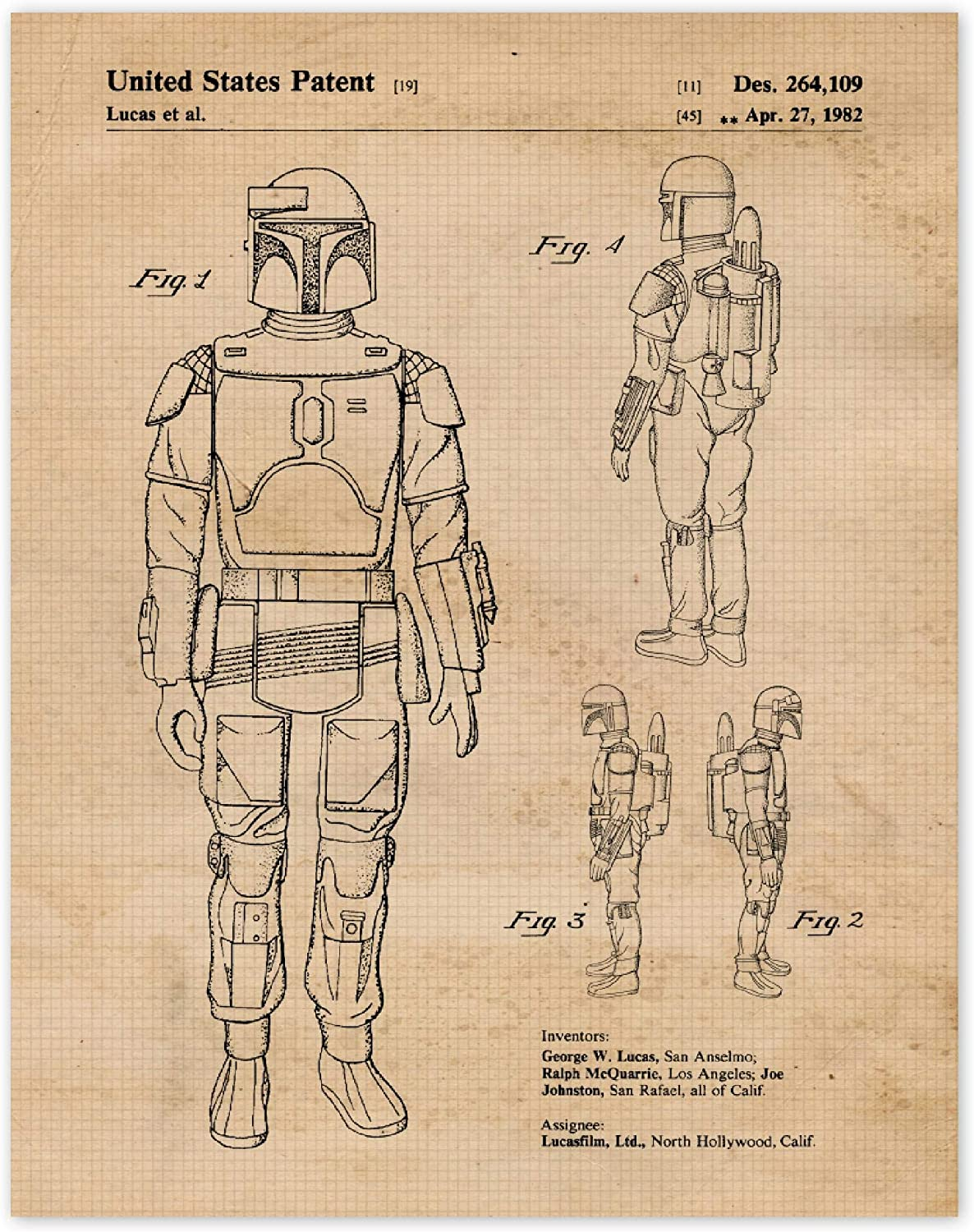 Vintage Star Wars Mandalorian Patent poster prints of 1 11x14, Great Wall Art for Home, Office, Man Cave, College Student, Teacher, Comic-Con & Movies Fan