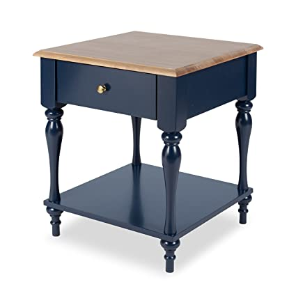 Merveilleux Kate And Laurel Sophia Rustic Wood Top Nightstand Side Table With Drawer  And Shelf, Navy